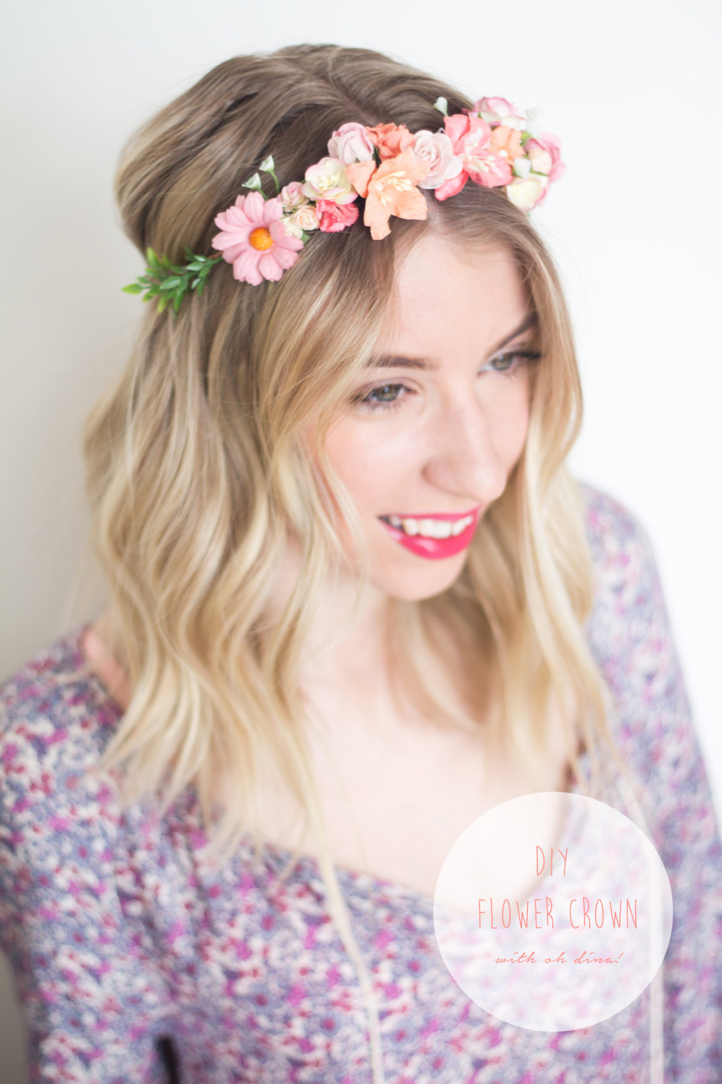 Diy flower crowns with oh dina the blondielocks life style as you probably know by now i love to diy but sometimes it is so nice to be able to make something that already has all of the directions laid out for izmirmasajfo