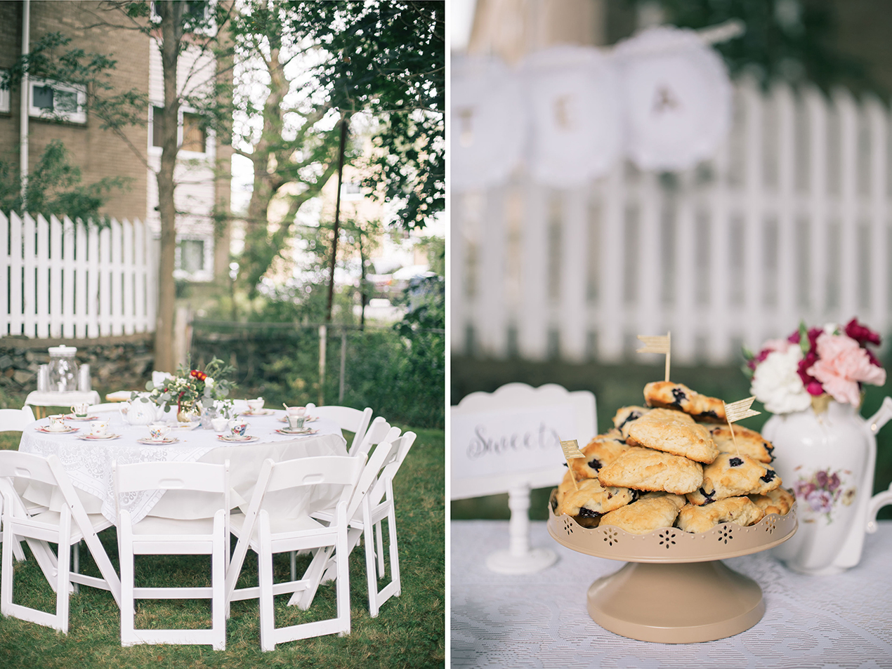 the white resin folding chairs were the perfect option for a high tea and really brightened up the space