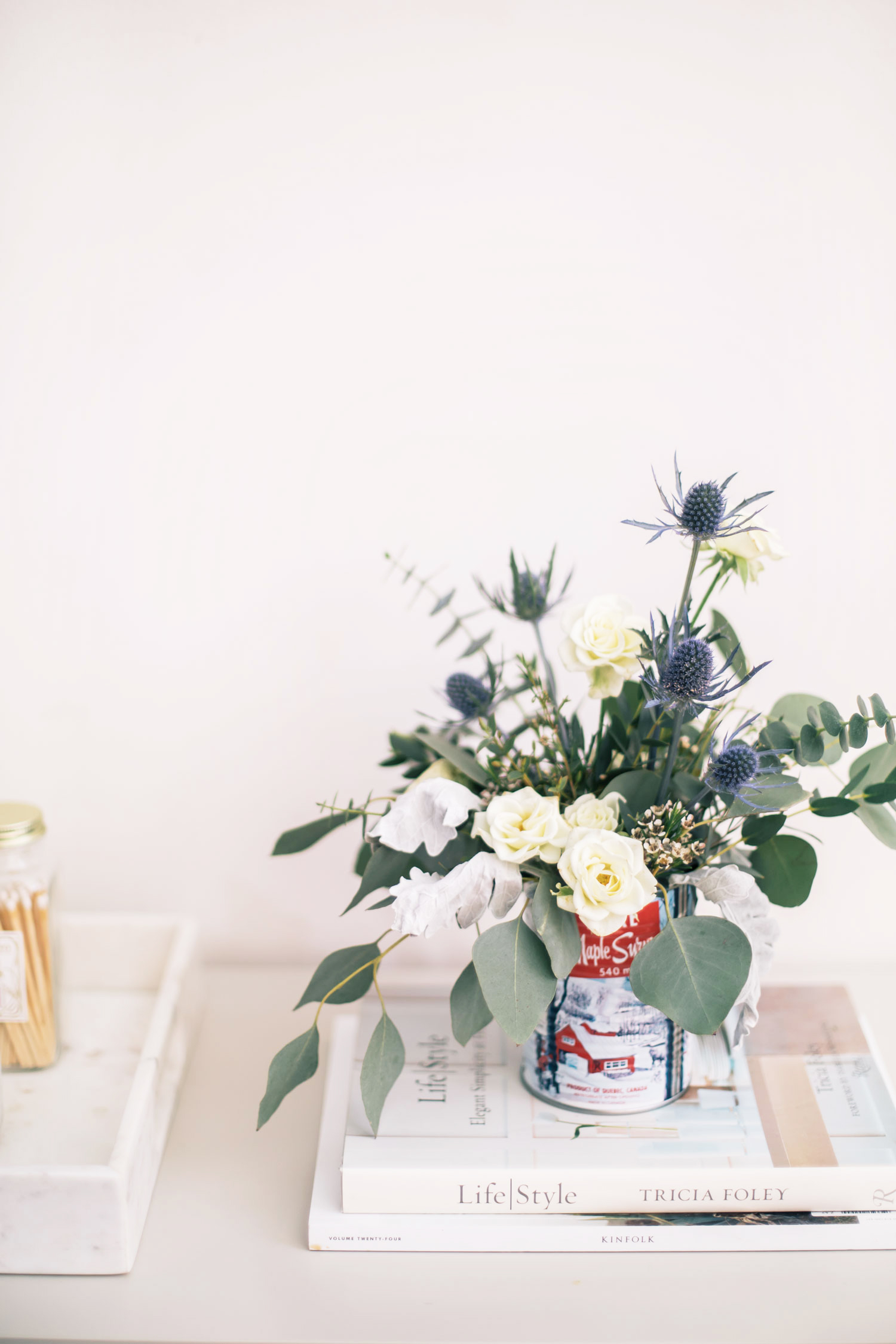 Diy Winter Floral Arrangement In A Repurposed Tin Can The