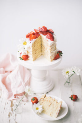 Strawberry Chamomile Crepe Cake