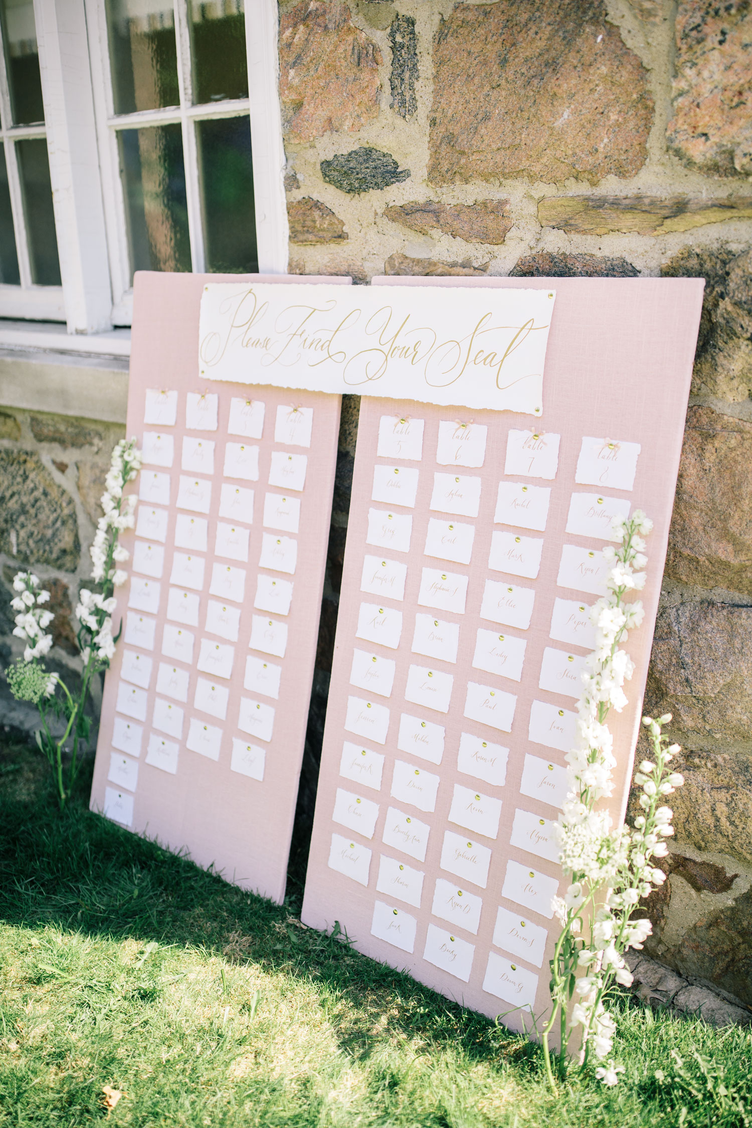 My diy wedding seating chart the blondielocks life style step 5 using a thin silk ribbon tie a bow around each table number pin this is optional but i think it looks really cute and helps define the table solutioingenieria Choice Image
